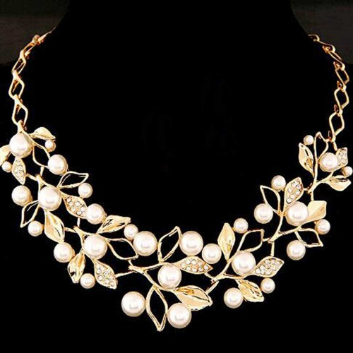 FAMSHIN Simulated Pearl Necklaces & Pendants Gold Leaves Statement Necklace Women Collares Ethnic Jewelry