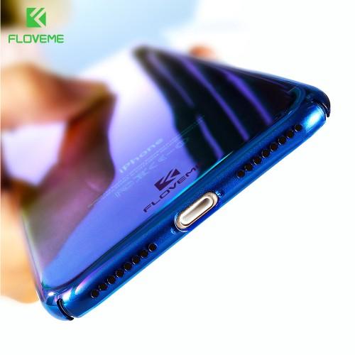 FLOVEME For iPhone 6 6S Plus Case 5 5S SE 7 7 Plus Gradient Blue-Ray Light Case