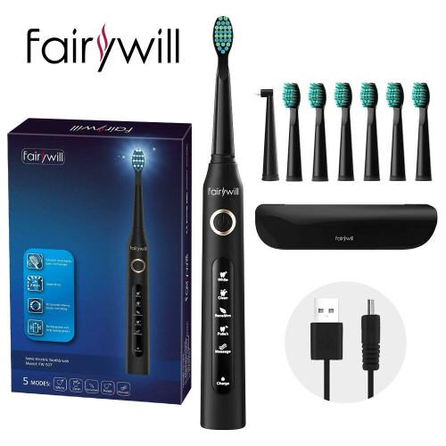 Fairywill FW-507 Electric Toothbrush USB Charger IPX7 Waterproof With 5 Modes