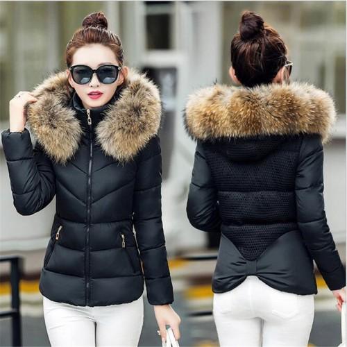 Fur collar down cotton thick Snow Wear Coat