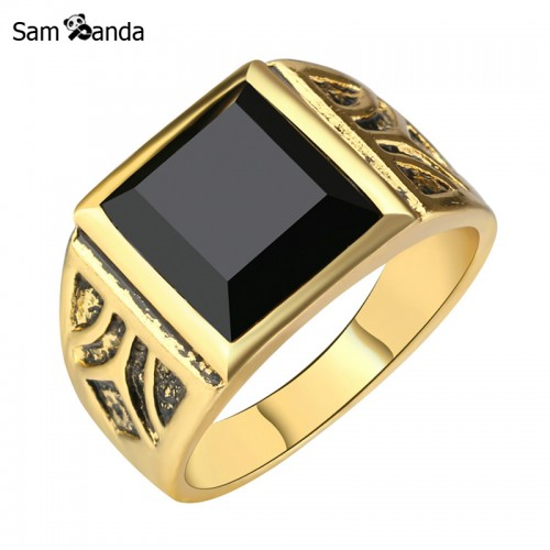Gold Color Ring Men Jewelry Accessories Punk Black Vintage Ring