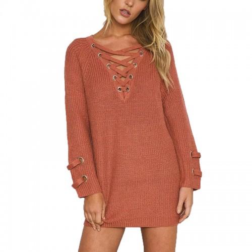 V-NECK Long Sleeve Lace up long Sweater