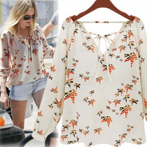 Fashion Women Chiffon Top Blouse Short Long Sleeve Dove Print Casual Loose Shirt