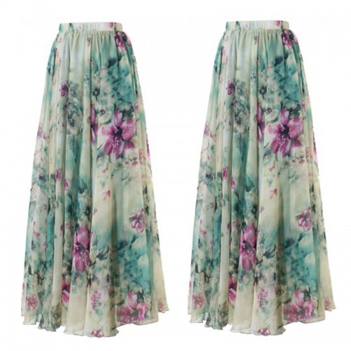 Womens Floral Jersey Gypsy Long  Skirt