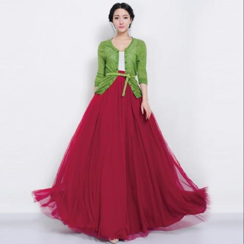 Elegant High Waist Pleated Skirt Maxi Long Tulle Skirts Mesh Skater Skirt