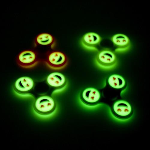Fidget Spinner Luminous Smile Emoji Plastic Hand Spinner Finger Glow in the Dark For Autism ADHD Anti Stress