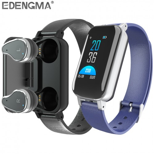 Fitness Bracelet with Bluetooth 5.0 Wireless Headset Men Women Smart Wristband
