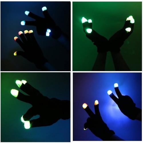 Flashing 6 Glow Mode LED Rave Light Finger Lightning Gloves