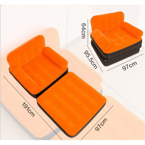 2 In 1 Flocking Inflatable Sofa Bed Casual Recliner Lazy Sofa Bed Folding Home Sofa
