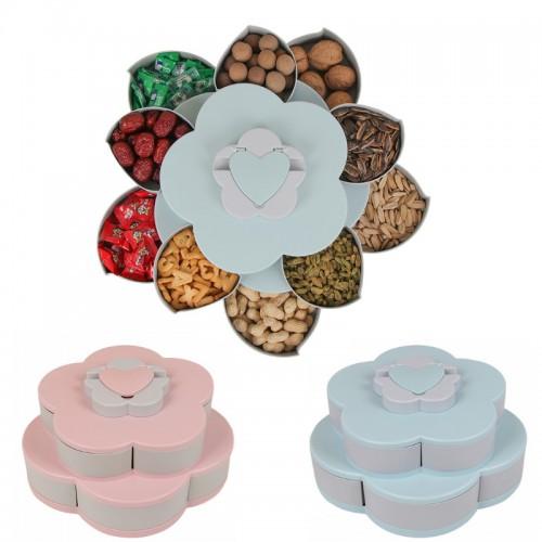 Flower Design Plastic Snack Organizer Fruit Basket Double-layer Creative Candy Box