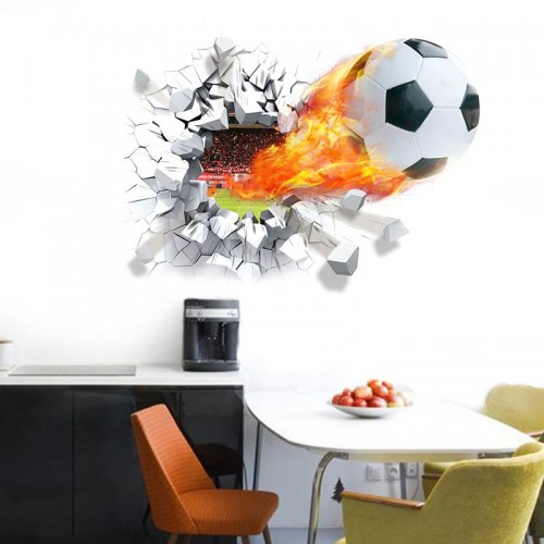 Flying Football Through Wall Stickers For Kids Room Decorations Home Decals Soccer PVC 3D Mural Art Sport Game Poster