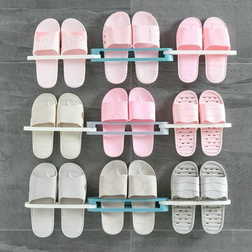 Wall Mounted Slipper Rack  Bathroom Perforation Free Shelf Wall Hanging Shoes Organizer Hanger