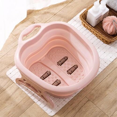 Portable Folding Travel Foot Wash Basin Feet Spa Bubbling Massage Wheel Bath-Tub