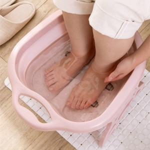 Portable Folding Travel Foot Wash Basin Feet Spa Bubbling Massage Wheel Bath-Tub