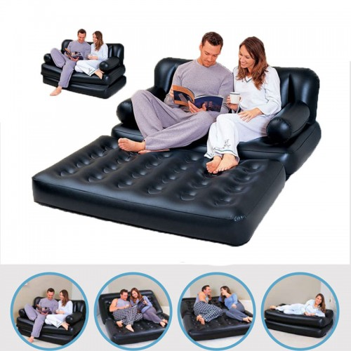 5  In 1 Foldable Inflatable Sofa Multifunctional Furniture Garden Bedroom Sofa Portable Camping Bed For 2 Person