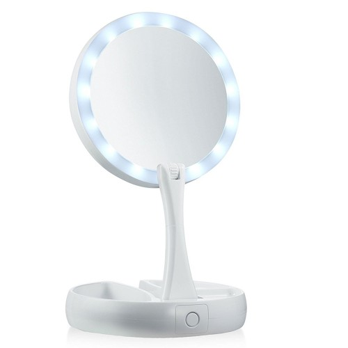 Foldable LED Mirror Lighted Make-up 10X Magnifying Double Sided Vanity Mirror