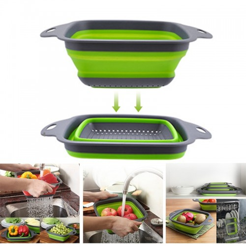 Foldable Silicone Square Drain Basket Collapsible Kitchen Organizer Fruit Vegetable Strainers