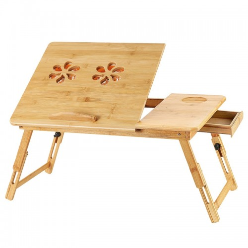 Folding Portable Bamboo Laptop Desk Adjustable Computer Desk Notebook Laptop Bed Table With Drawer