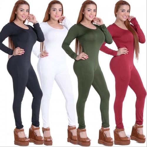 O-Neck Long Sleeve Skinny Full Jumpsuit