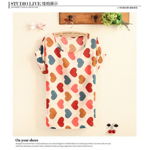 Bird Feathers Colorful Chiffon Batwing Short Sleeve Shirt