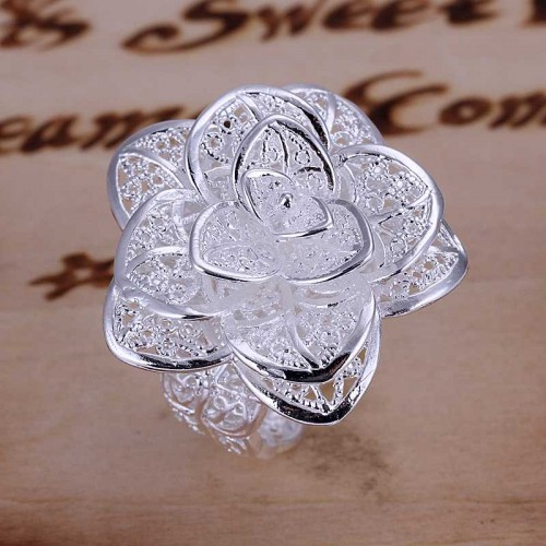 Silver Plated Big Flower Adjustable Ring for Women