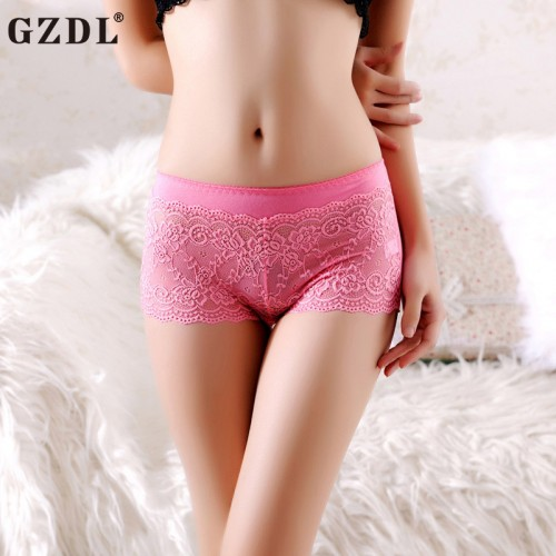 Ladies Underwear Low-Waist Lace Mesh Floral Solid Ruffles Boxer Knickers Women Shorts