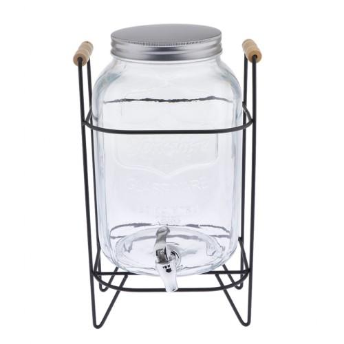 8L Glass Beverage Dispenser With Stand & Leak Free Spigot Enzyme Barrels