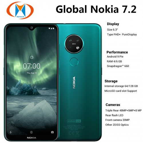 Global Version Nokia 7.2 Mobile Phone 6GB RAM 128GB ROM Triple Rear Camera 48MP Front 20MP NFC 4G Phone