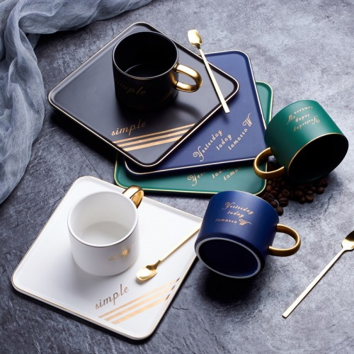 Luxurious Ceramic Mug Office Cup And Saucer Set With Spoon