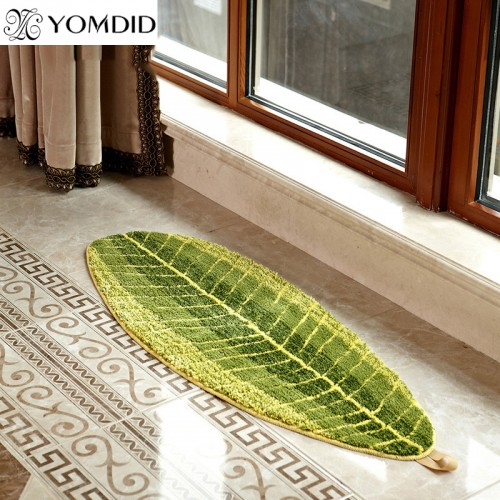 Green Leaves Design mat TPE Bath Mat doormat Anti-slip carpet for living room kitchen Bathroom Bedroom rugs 40x60 cm