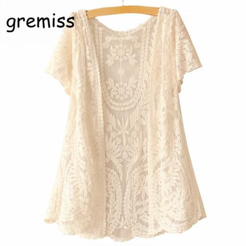 Women Short Sleeve Crochet Net Lace Cardigan