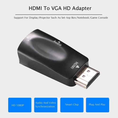 HDMI Male To VGA 15 Pin Female Adapter Audio Video Converter HD 1080P For PC Laptop TV Box Computer Display