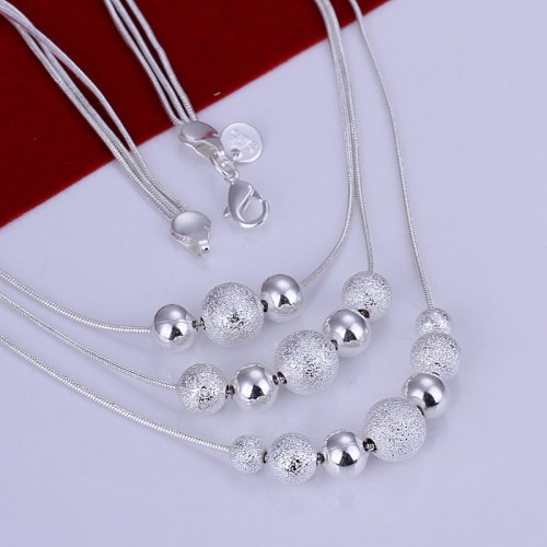 Three Line Bead silver necklace for Womens