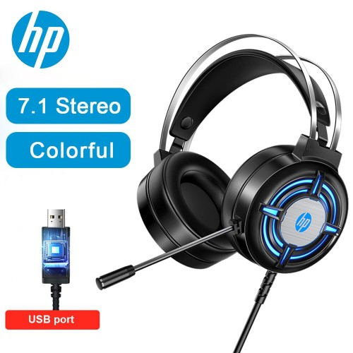HP Gaming 7.1 Surround Stereo Headset Laptop Colorful Light Headphones With Mic 3.5mm USB