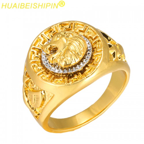 Fashion Gold and Silver Colors Classic Punk Style Hip Hop Ring Band Cool Lion Head Gold Ring Jewelry