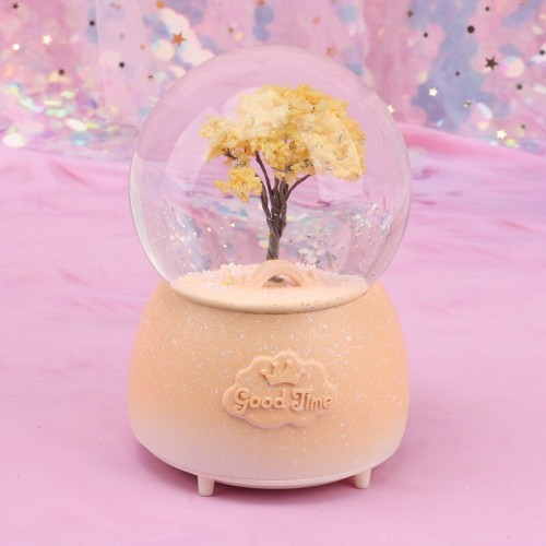 Home Decoration Ornaments Crystal Snow Ball Music Box Resin Desk Decor