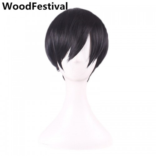 Handsome Short Male Wig Straight Synthetic Hair Heat Resistant Wigs 25 cm