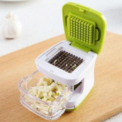 Stainless Steel Blades Inbuilt Clear Plastic Tray With Green Garlic Press Sharp
