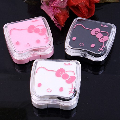 Hello Kitty Contact Lens Case For Women Cute Contact Lenses Box With Mirror