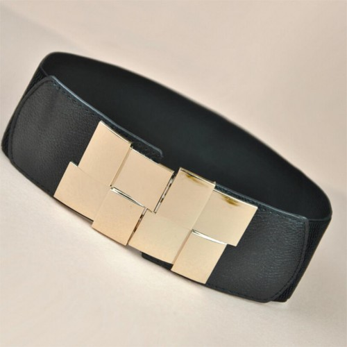 Stretch Elastic Waistband Wide Metal Belts