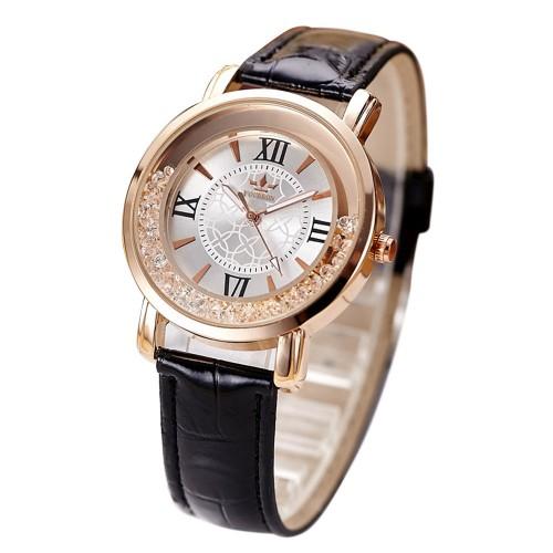 Ladies Fashion Quartz Women Rhinestone Leather Casual Watch