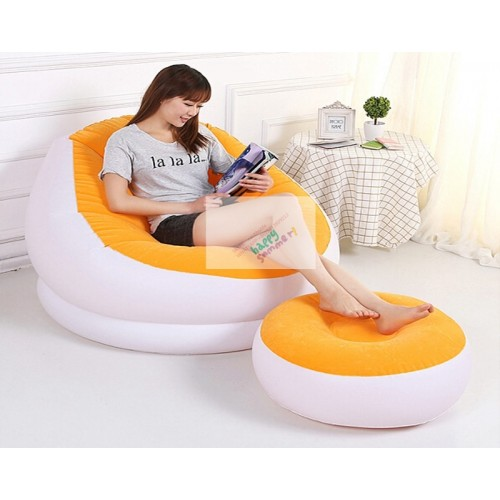 Colorful Inflatable Lounge Seat With Foot Rest Relax Pull Out Air Sofa