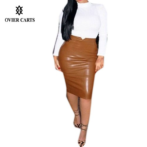 Leather Solid High Waist Slim Hip Pencil Skirts
