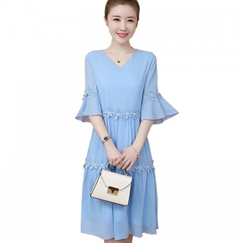 Women Summer Flare Sleeve Casual Slim Dress Ladies V-Neck Chiffon Long Dress