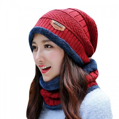 2pcs Ski Cap And Scarf Set Cold Warm Winter Hat For Women Men Knitted Bonnet Warm Cap