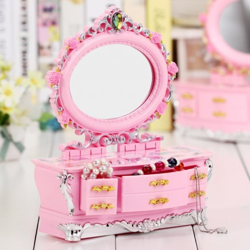 Creative Music Makeup Box With Drawer Dancing Princess Jewelry Decoration