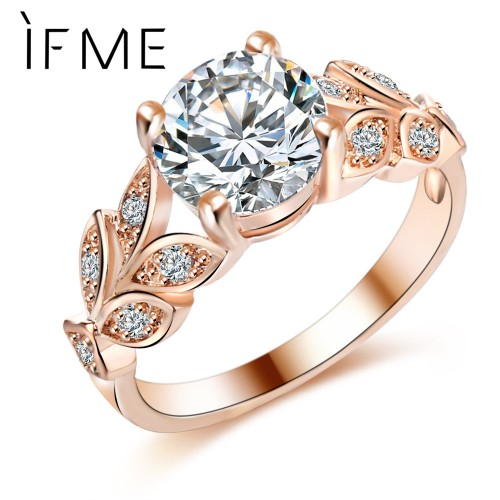 Crystal Color Rings Leaf Gold Color Cubic Zircon Ring