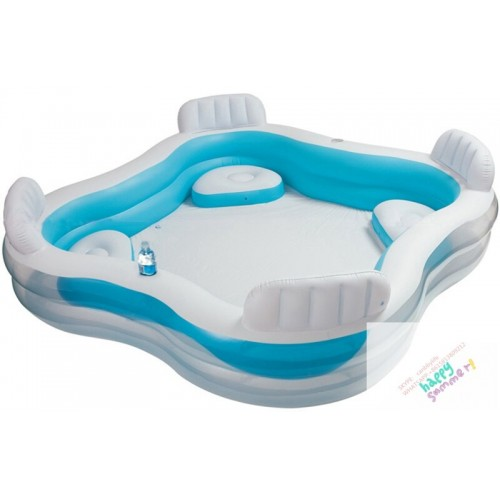 INTEX 56475 Square Shape Swim Center Inflatable Family Pool With Backrest /cupholder &Four Inflatable Seats