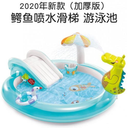 2.03m x 1.73m x 89cm INTEX Children's Paddling Pool With Slide Crocodile Inflatable Swimming Pool
