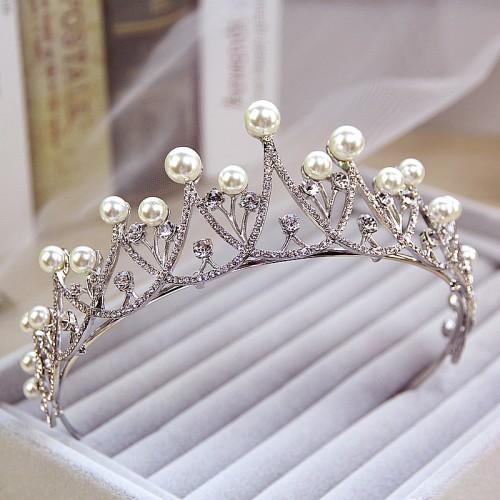 Crystal Pearl Wedding Bridal Rhinestone Tiara Crown